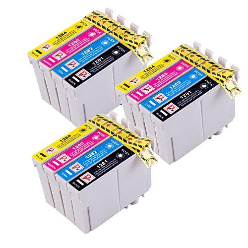 Perfectprint compatibile inchiostro cartuccia sostituzione per epson stylus office bx305f bx305fw plus bx305fw stylus s22 sx125 sx130 sx230 sx235w (nero/ciano/magenta/giallo, 12-pack)