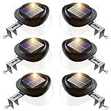 JSOT Solarlampen für Außen, 9 LED Solarleuchte Garten Aussen [100 LM] Dekoratives Zaun Licht Wasserdichte Solar Wandleuchte für Terrasse Traufe - Weißes Licht, 6 Stück