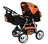 Lux4Kids King Kinderwagen Safety-Winter-Set (Winterfußsack, Autositz & ISOFIX Basis, Regenschutz, Moskitonetz, Getränketablett, Matratze, Wickelunterlage) 38 Zartbitterschokolade & Orange