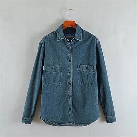 Camicia manica lunga in denim giacca donna , denim blue , m