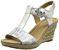 Gabor Karen, Women's Wedge Sandals, Silver (Silver Snake/Leather), 8 UK (42 EU)