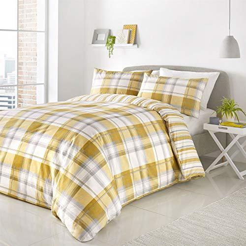 6-teiliges Bettwäsche-Set mit Karomuster, vertikale Streifen, gelbe Baumwollmischung, King-Size-Größe (einfarbiges weißes Spannbetttuch - 152 x 200 cm + 25), einfarbig Weiß -