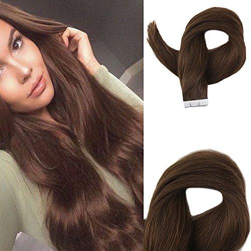 Easyouth Natürliches Haarverlängerungsband Medium Brown Color #4 14 Zoll Jungfrau Haar Erweiterungs Menschenhaar Band in Den Extensions 40 Gramm Pro Paket (Jungfrau-menschenhaar Erweiterungen - Haar)