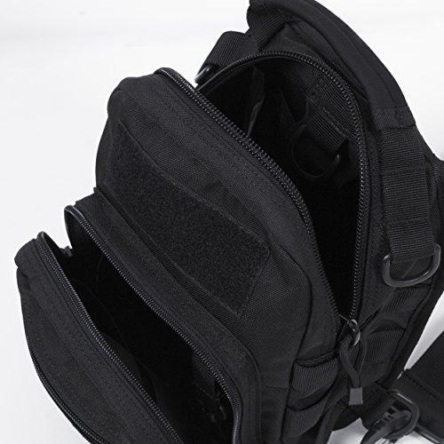Seibertron Außen taktischer waterproof Rucksack, Assault Pack One Strap,Militärsport-Satz-Schulter-Rucksack für Camping, Wandern, Trekking, Rover Sling-Pack Brusttasche wasserdichtes Gewebe Schwarz