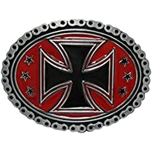 Hebilla, Bucle placa de cinturón estilo cadena motivo cruz de malta negro fondo rojo