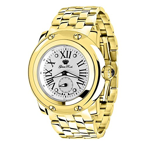 Glam Rock Women's Miami 46mm Gold-Tone Steel Bracelet Gold Plated Case Swiss Quartz Analog Watch GR10070