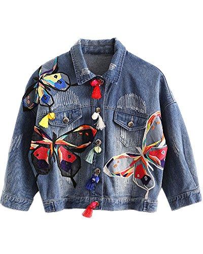 Minetom Damen Mädchen Beiläufig Stilvoll Bestickt Rose Gewaschene Jeans Denim Jeansjacke Jacket Oberbekleidung Coats Mantel B Blau DE 40
