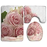 RedBeans 3-teiliges Badvorleger-Set mit rosa Rosen mit Blütenblättern auf weißem Hintergrund, Rutschfest, mit WC-Deckel, Badematte, personalisierter Kunstdruck, Weiß