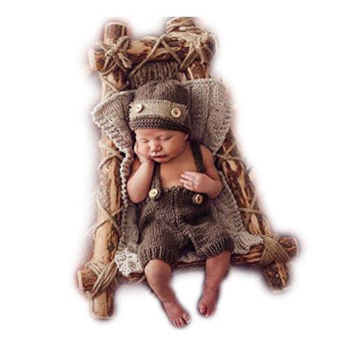 Fashion Neugeborene Jungen Mädchen Baby Kostüm Fotografie Requisiten Strickmütze Pants