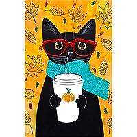 Wallpaper de BaZhaHei, Bandera del jardín café del gato negro 12.5 x 18 pulgadas decoraciones