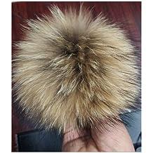 12-15 cm XL Fellbommel Raccoon naturbraun Bommel für Mützen Pelzbommel Echtfellbommel