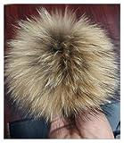 12-15 cm Fellbommel Gr. XL, Raccoon naturbraun Bommel für Mützen Pelzbommel Echtfellbommel