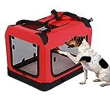 Cocoarm Transporttasche für Haustiere Faltbare Hundetragetasche Haustier Tragetasche Katze Transportbox Hundetransportbox Reisetasche Hundebox Oxford Gewebe Größe L 70 x 51.5 x 52 cm Rot