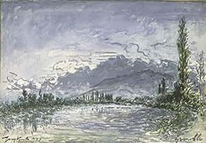 Peinture à l'huile - 24 x 17 inches / 61 x 43 CM - Johan Barthold Jongkind - L Isère à Grenoble