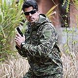 KALUNBS Männer Kapuzenjacke Taktische Armee Outdoor Mantel Camouflage Softshell Shirts Schnell trocken Atmungsaktiv Leicht Wandern
