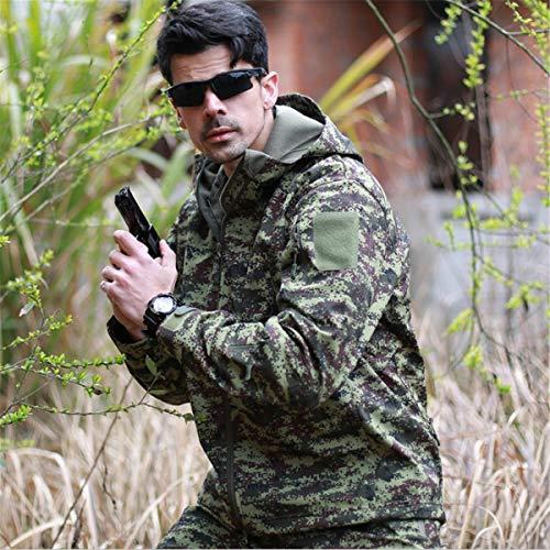 KALUNBS Männer Kapuzenjacke Taktische Armee Outdoor Mantel Camouflage Softshell Shirts Schnell trocken Atmungsaktiv Leicht Wandern Nec 42