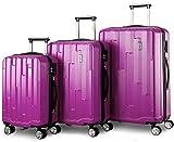 Flieks Hartschale Trolley Koffer Roller Case Reisekoffer Zwillingsrollen Reisekoffer mit Zahlenschloss Handgepäck mit 4 Doppel-Rollen, XL-L-M (Lila, Set)
