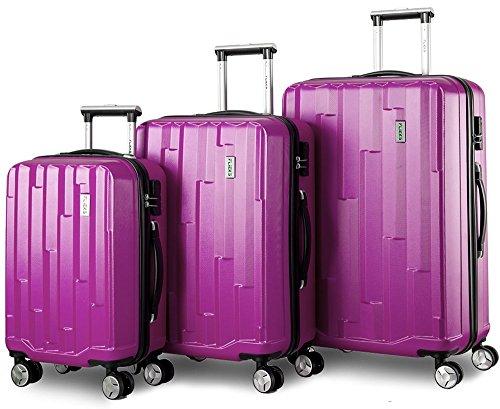 Zwillingsrollen Hartschalen Kofferset Reisekoffer 3 teilig Koffer Trolleyset mit Zahlenschloss, Flieks 3tlg. Gepäck-Sets mit 4 Doppel-Rollen, Set-XL-L-M(Lila)