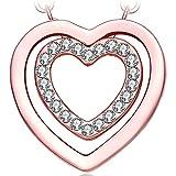 NEEMODA Collier Coeur Pendentif cristaux Bijoux femme plaqué or rose cadeaux anniversaire saint valentin Noël fête des mères