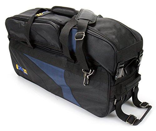 Kaze Sports 3Ball Deluxe Bowling Tournament Tote mit abnehmbarer Schuh & Zubehör Tasche, schwarz (3 Bowling Ball Tasche)