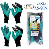 Guantes de jardin (2 pares), Eiito guantes de jardinería con garras de excavación Sensitivity para el jardín y tareas del hogar, guantes protectores seguridad trabajo