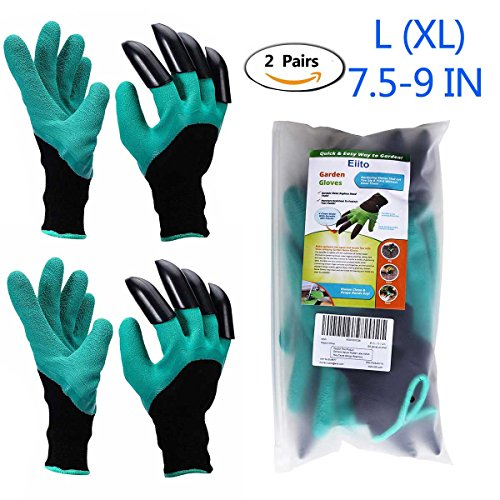Eiito Garden genie gloves (2 pairs), gardening gloves claw easy to digging  and Garden glove planting, raking safe