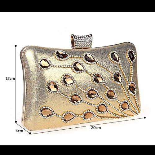 La borsa da sera pochette banchetto sposa sacchetto della damigella d'onore femminile del sacchetto sacchetto del vestito nuovo sacchetto di diamante della moda borsa a mano ( Colore : Nero ) Rose red