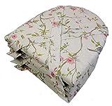 Rattani Set 4 x Stuhlkissen/Sitzkissen Marina halbrund mit Schleife 42 x 45 cm Dicke 5 cm, Fb. Mirha Leinen Bird