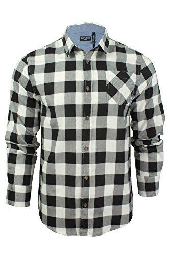 Herren Hemd von Brave Soul gebürstete Baumwolle, kariert, langärmlig (Weiß Schwarz) M
