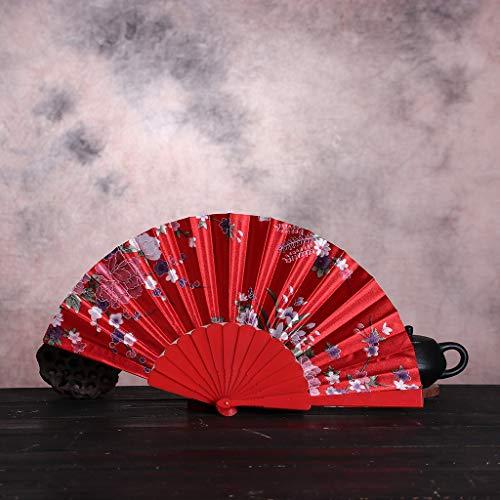 TriLance Vintage Handfächer Dekorationsfächer, Retro-Fächer, Flachgewebe, Faltfächer aus Kunststoff, hochwertiger Tanzfächer Sommer Feste Party Hochzeit Hand Fan Hochzeitfächer aus Kunststoff