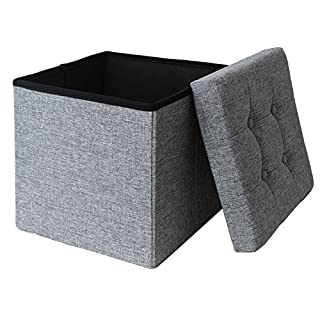 Ashley Mills Linen Fabric Folding Storage Ottoman Box Seat Foot Stool with Cushion Grey/Silver 38 x38 x38 cm 1 Seater