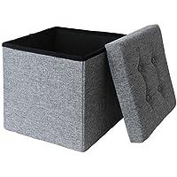 Ashley Mills Linen Fabric Folding Storage Ottoman Box Seat Foot Stool with Cushion Grey/Silver 38 x38 x38 cm 1 Seater