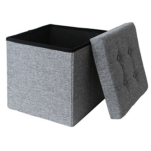 linen-fabric-folding-storage-ottoman-box-seat-foot-stool-with-cushion-grey-silver-38-x38-x38-cm-1-se