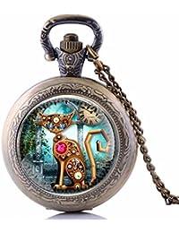 Vintage Steampunk Cat reloj de bolsillo collar Steampunk reloj colgante Steampunk joyas gato relojes de bolsillo cadena tiempo para hombre