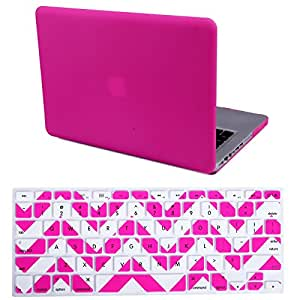 "HDE MacBook Pro 13"" Non-Retina Case Hard Shell Cover Rubberized Soft-Touch Plastic + Keyboard Skin - Fits Model A1278 (Fuchsia)"