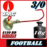 VMC Jighaken Jigkopf Football Eierkopf Größe 3/0 10g 5 Stück im Set Kopyto Stint Pulse Ripple
