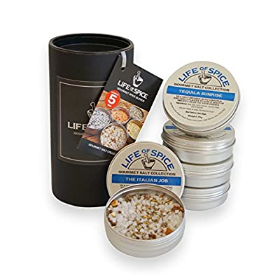 Life of Spice Gourmet Salt Collection - Set of 5 Life of Spice Salts (75g each) - Sea Salt, Rosemary, Basil, Ginger, Garlic, Chipotle and Chilli Flakes from Life of Spice