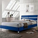 Eden Upholstered Platform Bed with Fabric Base & Metal Legs (Assembly Required, Headboard Included) (Single (3'), Blue)