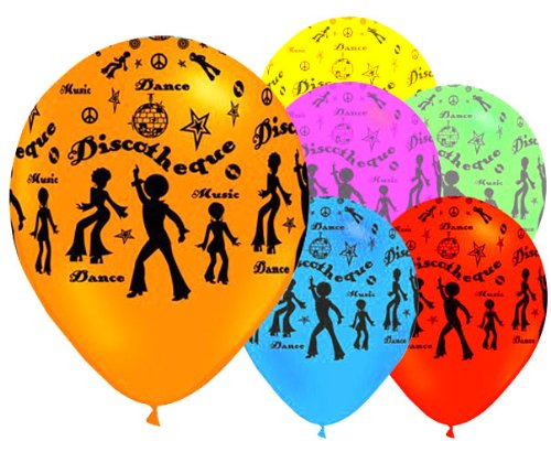 6 x Disco 12 Inch Latex Balloons.