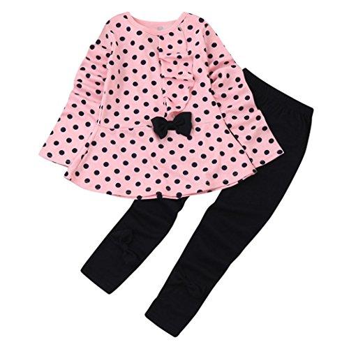 Covermason Baby Kinder Mädchen T-Shirt Tops + Hosen Bekleidungssets Baby Sets (4 Jahre, Rosa B)