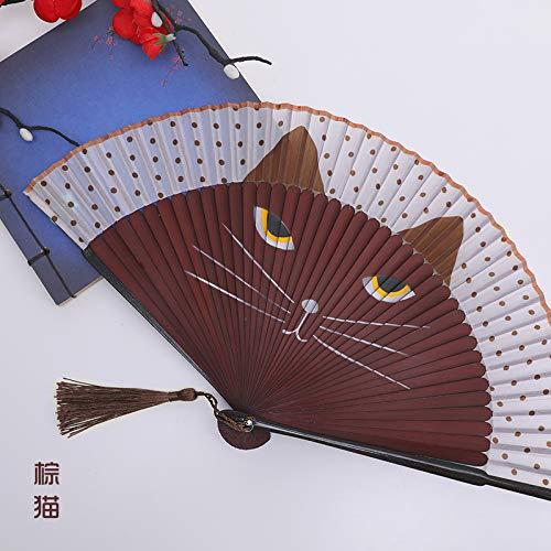 LUOSHUI Fächerkinder Faltfan gesäumte rote chinesische Tanz-Fan-Klassiker Carry-on klappen Alten chinesischen Kostüm-Fan Frauen Handbemalt (braune - Braune Katze Kostüm