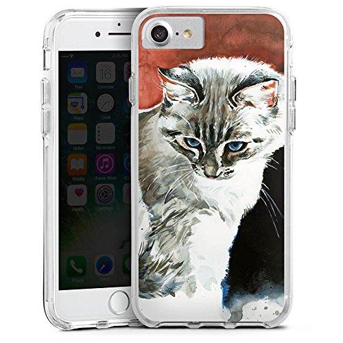 Apple iPhone 7 Bumper Hülle Bumper Case Glitzer Hülle Cat Katze Kitty Bumper Case transparent