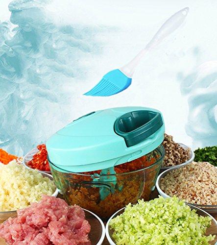 Tenta Küche Pull String Manuelle Lebensmittel Prozessor / Gemüse Schneidemaschine / Chopper / Dicer / Fleischwolf / Mixer - zu hacken Früchte, Gemüse, Nüsse, Kräuter, Zwiebeln, Knoblauch - mit 8 Zoll Premiun Silikon Pinsel