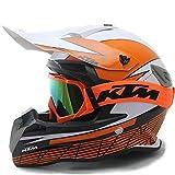AEMAX Motorradhelm für Langstreckenrennen, KTM-Offroad-Helm und Sonnenblende,B-M=56~57cm