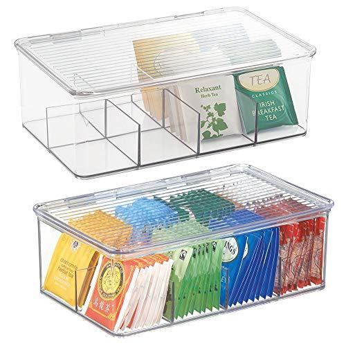 mDesign Teekiste (2er Pack) - die praktische, stapelbare Teebox zur Teebeutel Aufbewahrung - auch als Vorratsbox für die Küche - Durchsichtigen Kunststoff-beutel