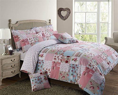 Pink Weiß Blau Patchwork Floral doppelte Baumwolle-Mischung Bettwäsche Tröster, (Set Weiß, Blau, Tröster)