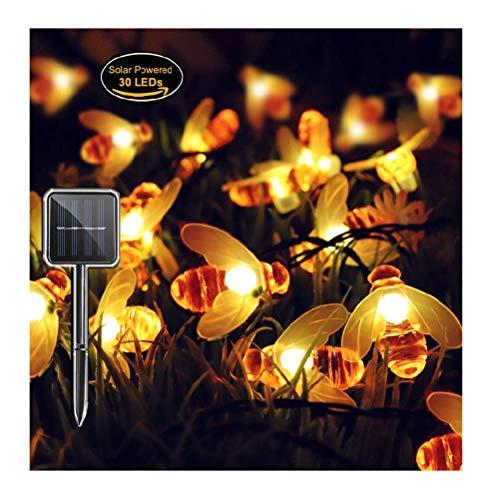 n, Panpany Wasserdicht 8 Modi Solar String Lichter, 22ft 30LED Außerhalb Lichterketten Biene geformt, Sternenlichterkette Lichter für Garten Terrasse Patio Hof Party Weihnachten ()