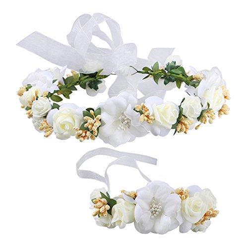 (Frauen Mädchen Blumenkranz Blumenstirnband Blumenkrone Haarkranz Garland Halo mit Floral-Handgelenk-Band für Braut Fotografie Hochzeit Festival Beige)