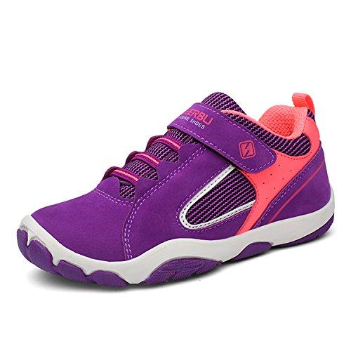 SAGUARO Jungen Trekking Wanderschuhe Kinderschuhe mit Klettverschluss Leicht Sport Schuhe Outdoor Laufschuhe Mädchen Turnschuhe Sneaker Lila, 29 EU