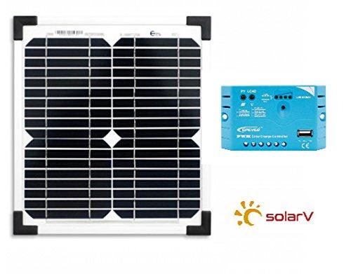 solarv® Basic Set Mono 10W y PWM Regulador de Carga 5A ls0512eu (precio: 36,73€)